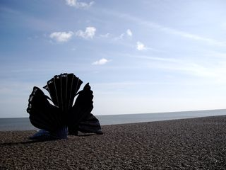 Scallop sculpture on Aldeburgh beach
