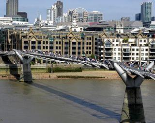 Millennium Bridge taken from Tate Modern balcony