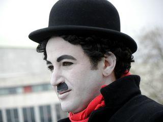 Charlie Chaplin lookalike on the South Bank
