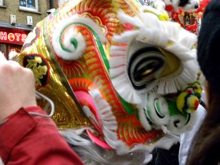 New Year dragon dancer in China Town