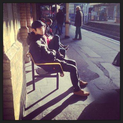 London scenes: Waiting for a train the winter sun