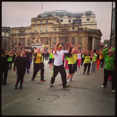 London at the weekend: Dancing in Trafalgar Square