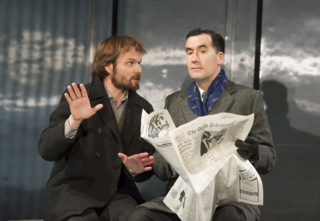 Alec Newman (Kerner) and Tim McMullan (Blair) in Hapgood at Hampstead Theatre. Photos by Alastair Muir.