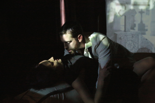 Izabella Urbanowicz as Gertrude and Alexander Hulme as Claudius in Gertrude at Theatre N16 (c) Roy Tan