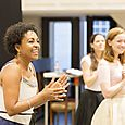 Adjoa Andoh (Madame de Volanges) in rehearsals for Les Liaisons Dangereuses Photographer Johan Persson
