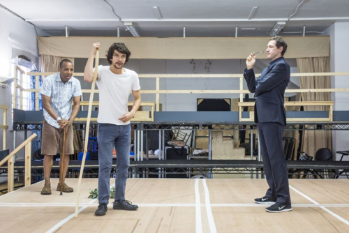 Bakkhai Rehearsals Kevin Harvey, Ben Whishaw and Bertie Carvel by Marc Brenner