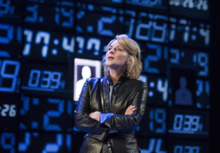 Lisa Dillon (Hapgood) in Hapgood at Hampstead Theatre. Photos by Alastair Muir.