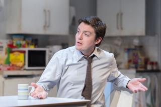 Tom Burke (Greg) in Reasons to be Happy at Hampstead Theatre. Photos by Manuel Harlan.
