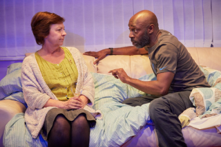 Tessa Peake-Jones and Andrew French in While We're Here at thenew Bush Studio. Credit Mark Douet