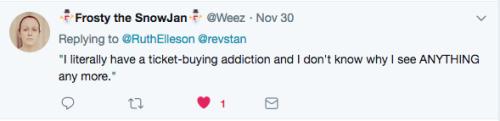 Tweet theatre ticket buying addiction