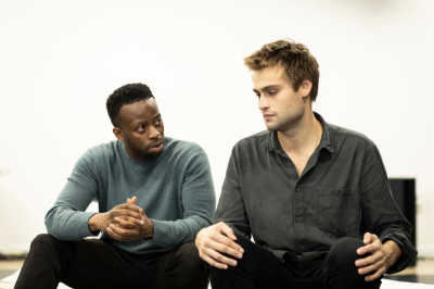 L-R Clifford Samuel (Teddy) & Douglas Booth (Jeremy) in Rehearsals for A Guide For The Homesick - (c) Helen Maybanks_25