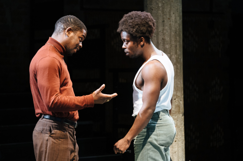 L-r Tok Stephen as Alvin and Jonathan Ajayi as Errol in 'Strange Fruit' at the Bush Theatre. Photo credit Helen Murray
