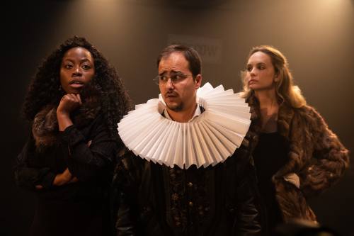 (L-R) Layo-Christina Akinlude  Stefan Menaul and Meaghan Martin in The Actor's Nightmare. Photo credit Ali Wright