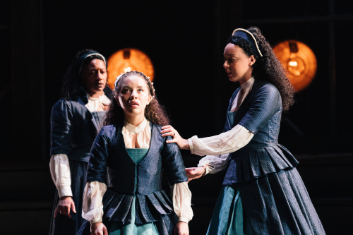 Clare Perkins (Emilia 3)  Saffron Coomber (Emilia 1) and Adelle Leonce (3) in Emilia at the Vaudeville Theatre. Photo credit Helen Murray.