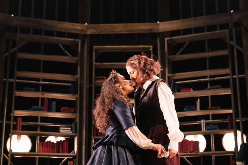 Saffron Coomber (Emilia 1) and Charity Wakefield (William Shakespeare) in Emilia at the Vaudeville Theatre. Photo credit Helen Murray (2)