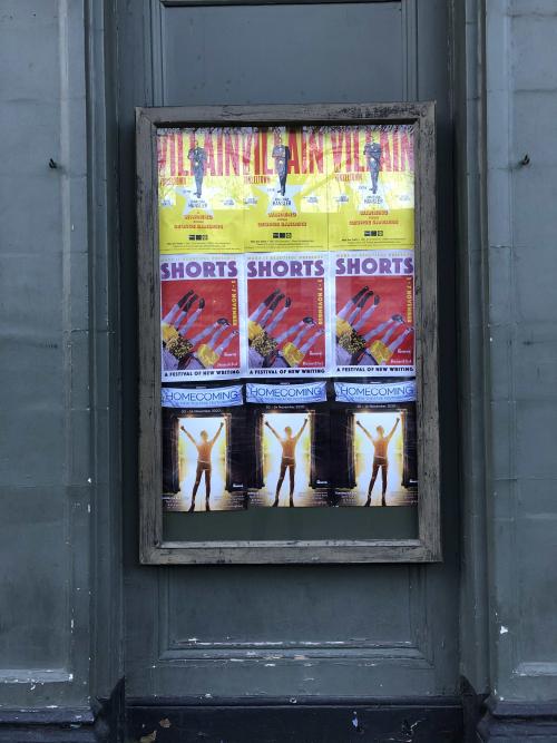 Play poster outside White Bear Theatre Jan 2021
