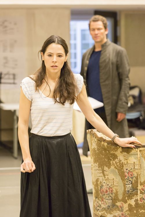 Elaine Cassidy (Madame de Tourvel) and Dominic West (Le Vicomte de Valmont) in rehearsals for Les Liaisons Dangereuses Photographer Johan Persson (2)